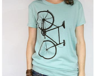 Bike T-shirt Womens Jade with Dark Brown Bike Screenprint
