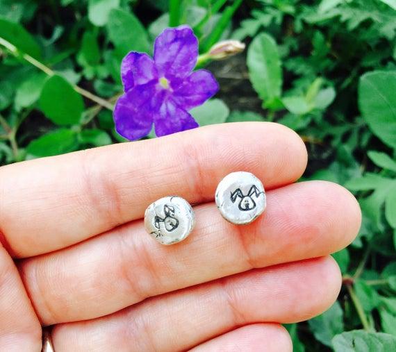 Rabbit Pebble Earrings in Recycled Sterling Metal Clay-Vegan Earrings-Vegan Jewelry-Vegan Gift-PMC earrings-stud earrings-Metal Clay earring