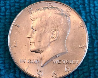 1964 D Half Dollar V.G. Toned Patina SILVER KENNEDY 50 CENT Coin - 1964 Bank Circulated Only  - Free Usa Shipping