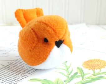 Kawaii Plush Bird Handmade Bird Stuffed Animal Plush Bird Neon Orange Bubbletime Plush Fleece Bird