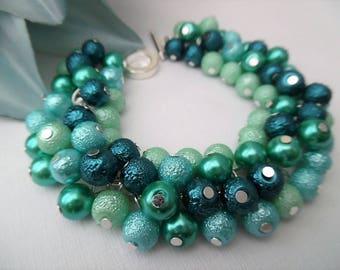 Sea Blues, Aqua Pearl Bracelet, Cluster Bracelet, Chunky Bracelet, Blue Jewelry, Gift For Her, Blue Bracelet, Sea Colours, Ready to Ship