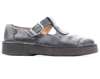size 9 Women Vintage Mary Jane Shoes 90s Wide Fit Wedges Black Chunky Aster France Made Shoes Leather Square Toe US 9, Eur 39.5, UK 6.5