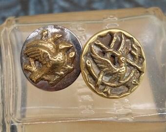 2 Antique Buttons Bird Victorian Picture