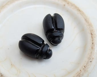 Antique French Mourning Glass Scarab Beetles 2 pcs Flat Back 1800s Victorian