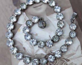 Vintage Rhinestone Bracelet Sterling Clasp