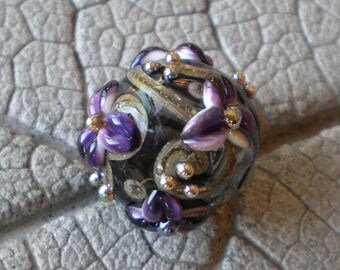 Gray Purple Hollow Floral Lampwork Beads by Cherie Sra R114 Flameworked Floral Focal Beads Floral Lampwork Bead Hollow Lampwork Floral Bead