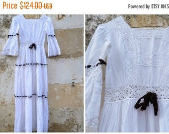 ON SALE Vintage 1970/70s Mexican wedding dress white cotton and lace /brown velvet ribbons   size XS