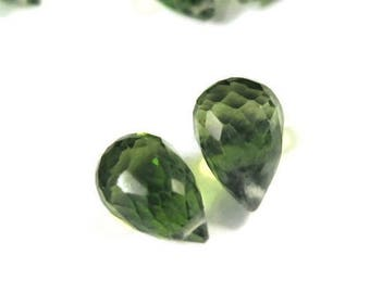Summer SALEabration - Two Peridot Beads, Matching Peridot Briolettes, Set of 2 Natural Gemstones, Matched Pair, 8x6mm - 11x7mm (B-Pe1)