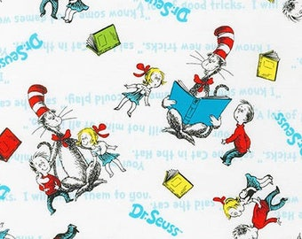 Dr Seuss,  Vintage style Cat in the Hat on WHITE by Robert Kaufman, Sally, yard