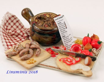 12th scale handmade dollhouse miniature Making Sausage and Bean Casserole