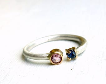 Split Top Blue and Pink Sapphire Ring in 14k Yellow Gold and Sterling Silver