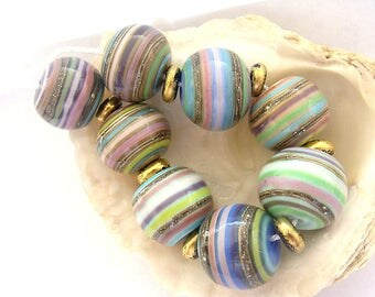 8 Hollow Striped Beads & 7 Golden Black Spacers Handmade Lampwork
