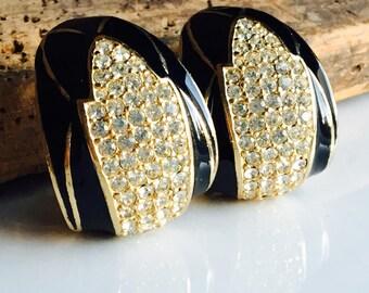 Vintage Ciner Rhinestone Earrings, Clip On Earrings, Pave Style Rhinestones, Art Deco Earrings, Grand Earrings, Big Earrings, Bling Earrings