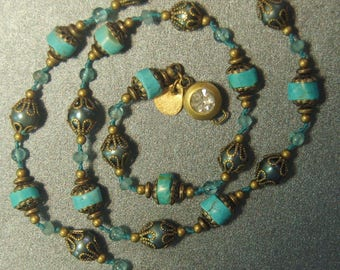 Hand knotted turquoise and apatite gemstone beads and teal fresh water pearls with solid brass beads and findings necklace