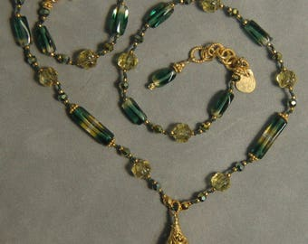 Hand knotted green yellow glass and 24k gold vermeil Bali beaded necklace