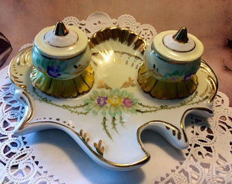 Beautiful Hand Painted Limoge Porcelain China Inkwell Pen Stand Desk Set - Yellow & Gold