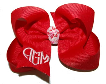 Valentine's Day Monogrammed Bow with Headband Option - Heart Monogram - Custom Monogrammed Bow - Your Choice of Colors