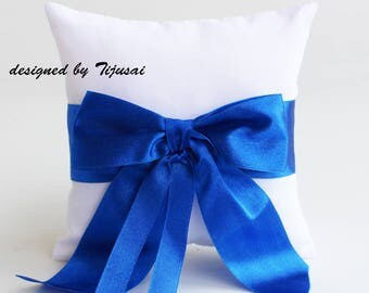 Reserved-White Wedding Ring bearer pillow with blue bow-ring bearer, ring cushion, ready to ship