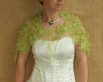 SALE-Green flowers... shawl, wrap, capelet---handmade lace