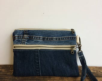 Casual Clutch - Double Zip Pouch - reclaimed denim jeans - upcycled - one-of-a-kind