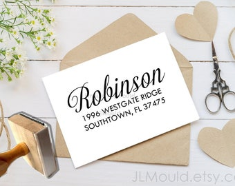 1066 JLMould Modern Family Address Stamp Return Address Red Rubber Stamp Handle or WoodMount Self Inking all options available