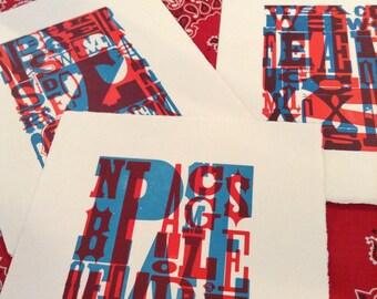 Set of 3 TYPOGRAPHY PRINTS Overprinted Hand Pulled Letterpress Print alphabets letters fine art