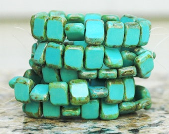 Turquoise Blue Green Picasso Czech Glass Rectangle Beads ~9x11mm ~ 15 beads