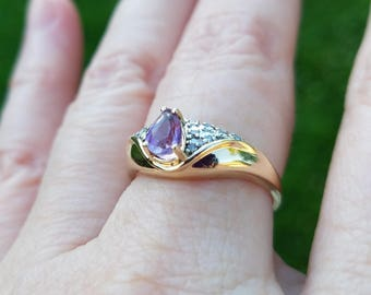 Amethyst and Diamond Cocktail Ring, 14kt, yellow gold, pave diamonds, pear-cut, round-cut, white gold, natural stone