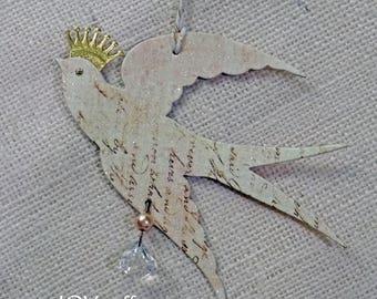 glittered dove ornament - NO426
