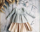 Skirt and top set for Blythe - grey linen -one off