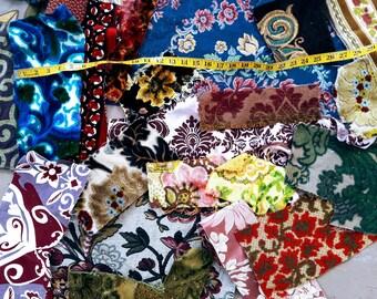 Velvet tapestry upholstery fabric scraps