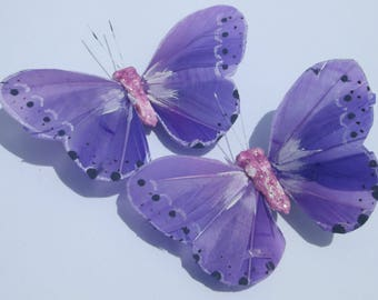 Butterfly Hair Clips Purple feather butterfly Purple Butterflies Hair Ornament hand made hair clips by Ziporgiabella