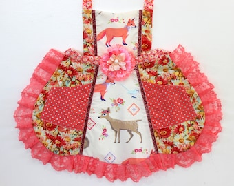 Deer and Fox Woodland Apron, toddler apron, girls apron