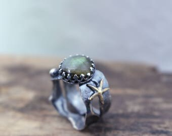 Sterling Silver Labradorite Ring - Ocean Beach Jewelry - Ooak Artisan Statement Ring