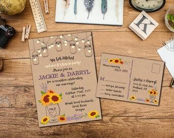 Rustic Mason Jar Sunflowers Elopement Invitation Suite, Wedding Reception Invitation, Response Postcards,Event Invitation, Party Invitation