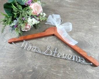 Wood Wedding Hangers - Wedding Dress Hanger - Bridesmaid Hangers - Wedding Name Hanger - Wire Hangers - Mrs Wedding Hanger - Name on Hangers