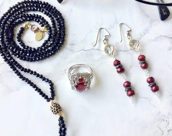 Deep Ruby Red Faceted Pearl Dangle Earrings
