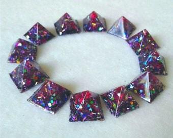 Confetti and star pyramid studs glue on