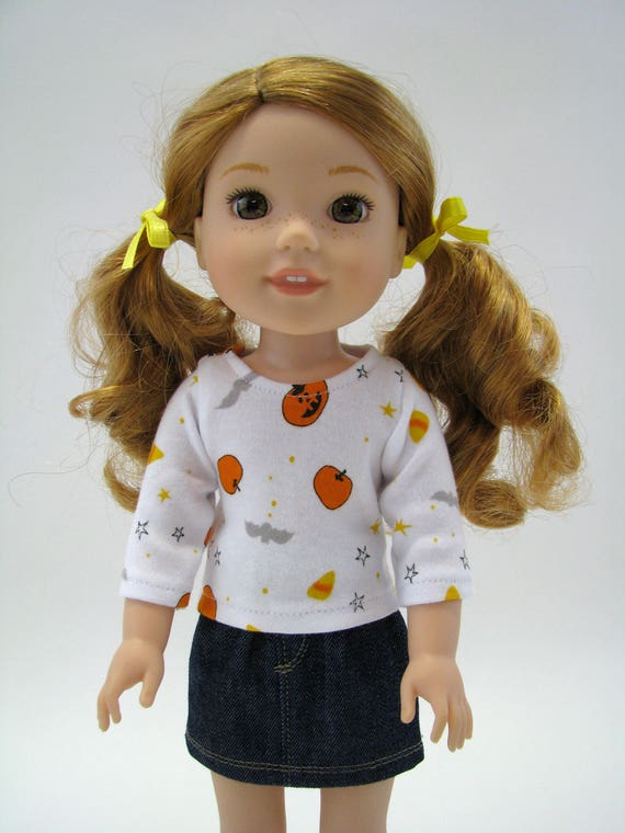 """14 Inch Doll Clothes - Fits Like Wellie Wisher - 14"""" Doll Top - 14.5"""" Doll Top - Halloween -  American Doll Clothes - A Doll Boutique"""