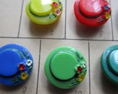 18- Vintage Glass Shank Buttons Flowers Hats Sewing - Diplay Card