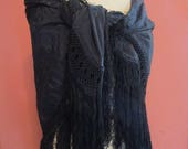 """10"""" Hand Knotted Fringe Vintage Shawl Scarf Wrap  Black Embroidered Flowers"""
