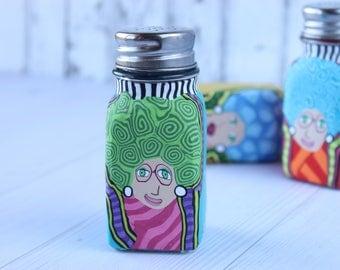 Colorful salt or pepper shakers-unique salt or pepper shakers-funny salt or pepper shakers-cute salt or pepper shakers-glass salt shaker
