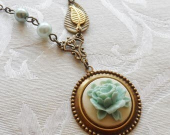 1/2 Price Sale- Blue Cabbage Rose, Necklace with Vintage Beads
