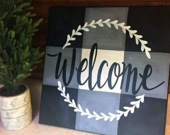 Buffalo check welcome sign - black buffalo check - welcome sign - painted canvas art - hand lettered