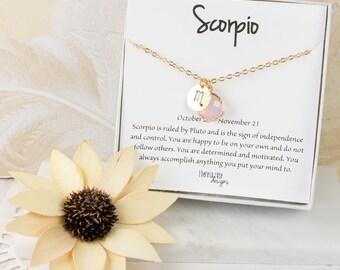 Scorpio Zodiac Gold Necklace, Scorpio October Necklace, October Birthday Jewelry, October Birthstone Necklace, Zodiac Necklace