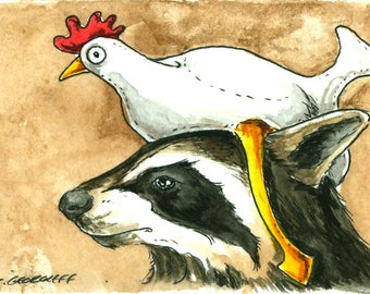 No, Not a Raccoon... Just us Chickens - Original ACEO Painting