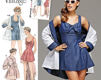 Simplicity Pattern 8139 Misses' Vintage Bathing Dress and Beach Coat  Size 6-14
