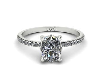 """Diamond Engagement Ring Semi Mount - 5x7mm Rectangular Cushion """"Lola"""" Solitaire by Laurie Sarah -add the center stone of your dreams- LS5134"""