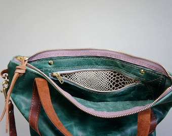 NEW///Emerald Green Pull Up Leather Cross Body with Handles and Clip On Adjustable Messenger Strap