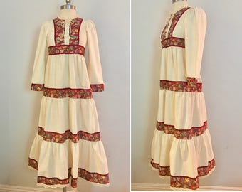 Vintage 1970's Hippie Bohemian Cotton Tiered Maxi Dress Size XS